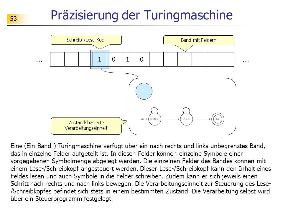 53 Präzisierung der Turingmaschine Eine (Ein-Band-) Turingmaschine verfügt über ein nach rechts und links unbegrenztes Band, das in einzelne Felder aufgeteilt ist.