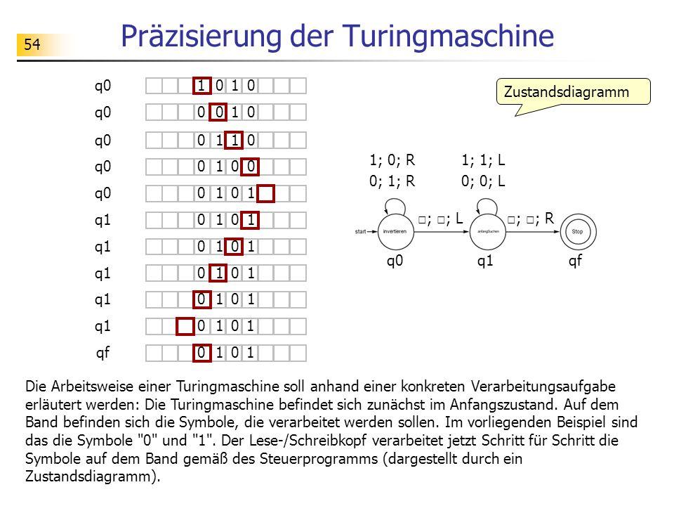 54 Präzisierung der Turingmaschine Die Arbeitsweise einer Turingmaschine soll anhand einer konkreten Verarbeitungsaufgabe erläutert werden: Die Turingmaschine befindet sich zunächst im Anfangszustand.