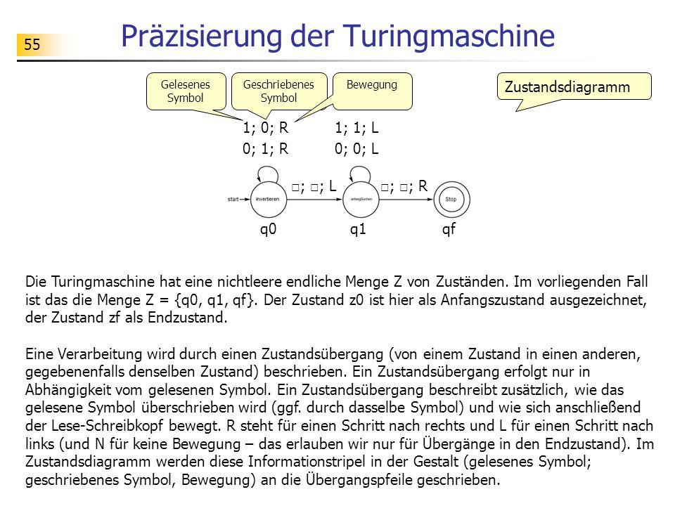 55 Präzisierung der Turingmaschine Die Turingmaschine hat eine nichtleere endliche Menge Z von Zuständen.