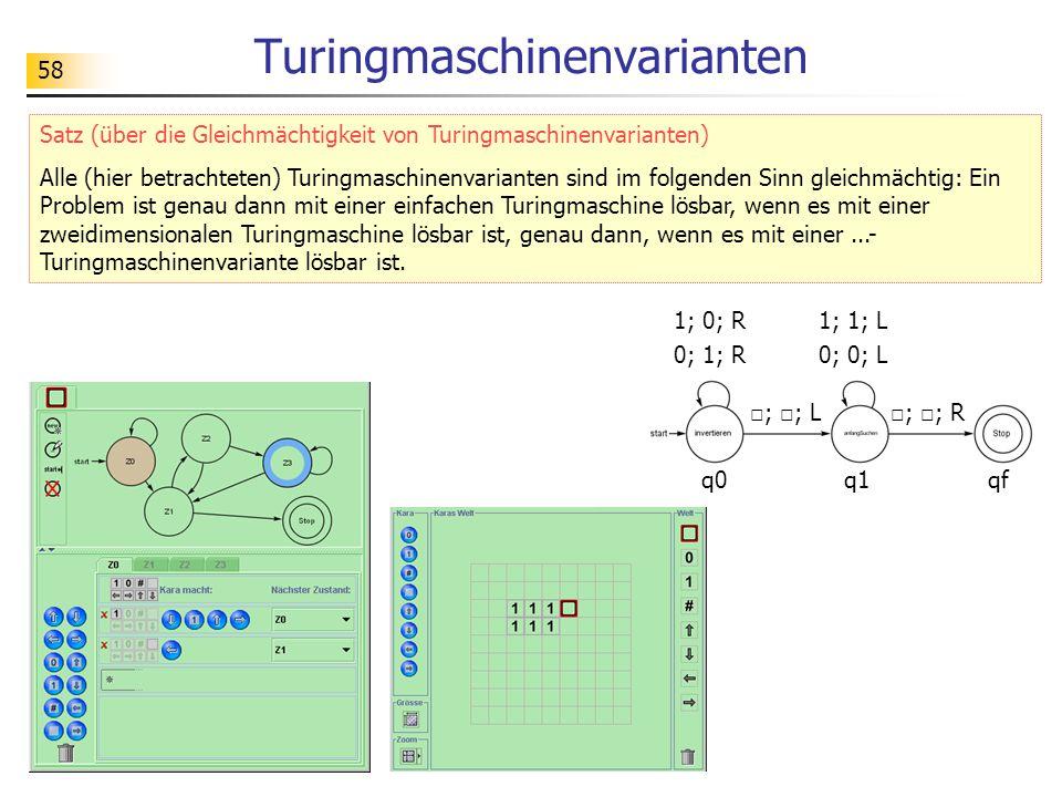 58 Turingmaschinenvarianten Satz (über die Gleichmächtigkeit von Turingmaschinenvarianten) Alle (hier betrachteten) Turingmaschinenvarianten sind im folgenden Sinn gleichmächtig: Ein Problem ist genau dann mit einer einfachen Turingmaschine lösbar, wenn es mit einer zweidimensionalen Turingmaschine lösbar ist, genau dann, wenn es mit einer...- Turingmaschinenvariante lösbar ist.