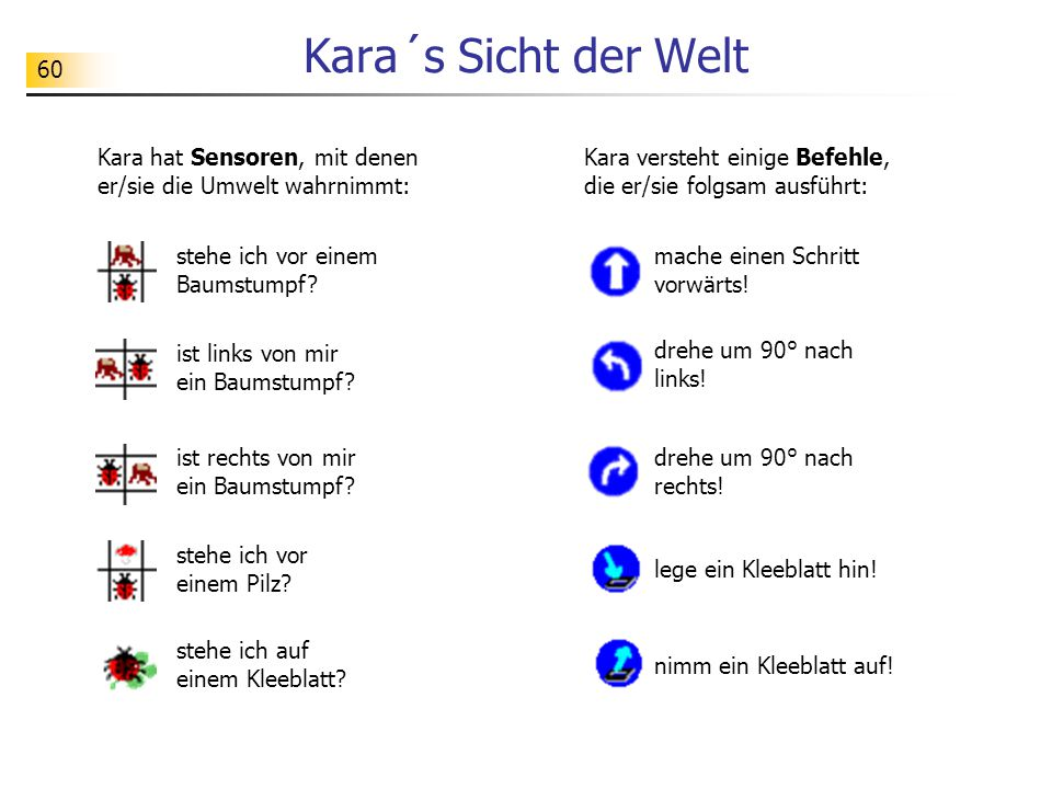 60 Kara´s Sicht der Welt Kara hat Sensoren, mit denen er/sie die Umwelt wahrnimmt: stehe ich vor einem Baumstumpf.