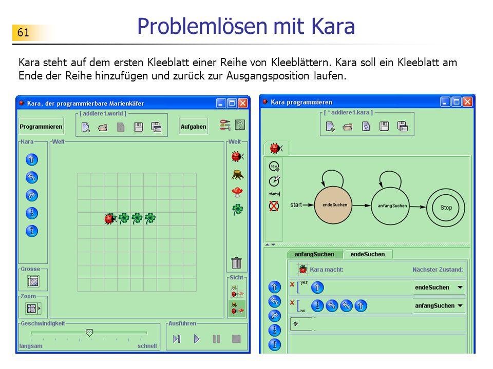 61 Problemlösen mit Kara Kara steht auf dem ersten Kleeblatt einer Reihe von Kleeblättern.