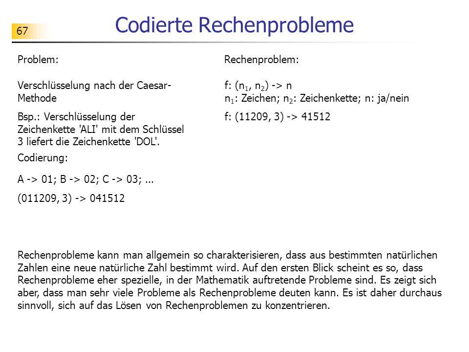 67 Codierte Rechenprobleme Rechenprobleme kann man allgemein so charakterisieren, dass aus bestimmten natürlichen Zahlen eine neue natürliche Zahl bestimmt wird.