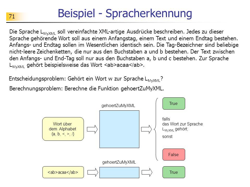 71 Beispiel - Spracherkennung Die Sprache L MyXML soll vereinfachte XML-artige Ausdrücke beschreiben.