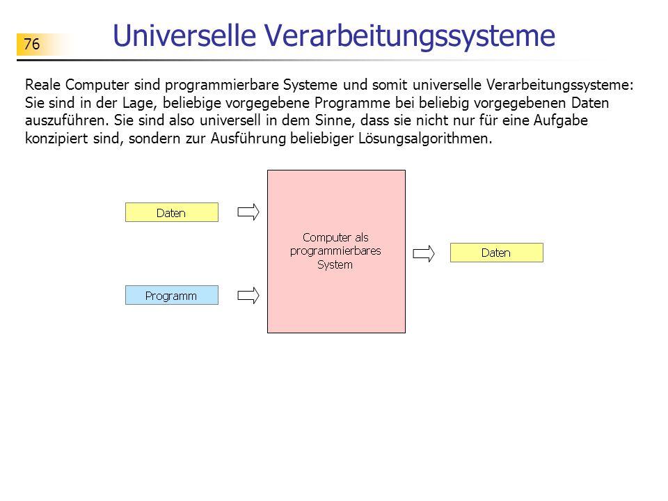 76 Universelle Verarbeitungssysteme Reale Computer sind programmierbare Systeme und somit universelle Verarbeitungssysteme: Sie sind in der Lage, beliebige vorgegebene Programme bei beliebig vorgegebenen Daten auszuführen.
