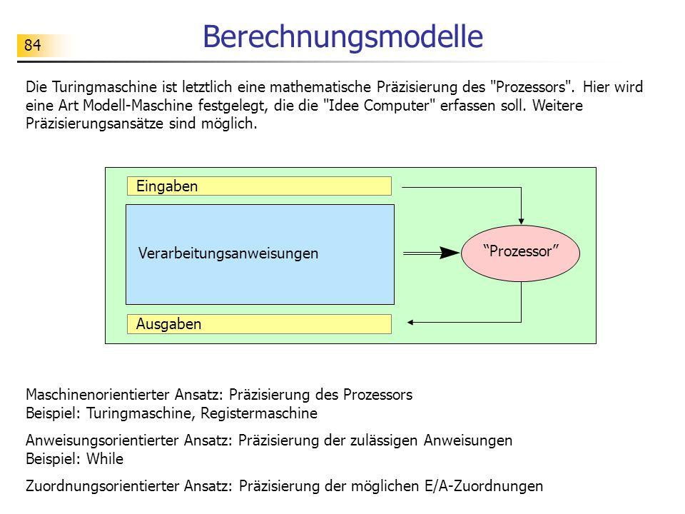 84 Berechnungsmodelle Die Turingmaschine ist letztlich eine mathematische Präzisierung des Prozessors .