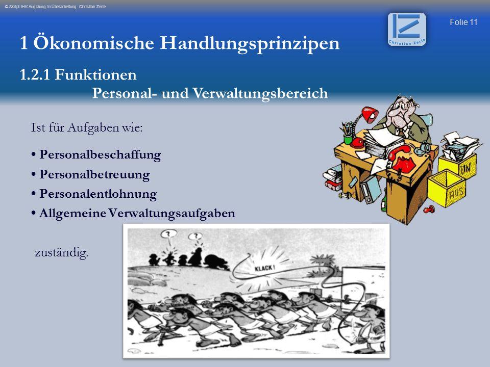Folie 11 © Skript IHK Augsburg in Überarbeitung Christian Zerle Ist für Aufgaben wie: Personalbeschaffung Personalbetreuung Personalentlohnung Allgeme