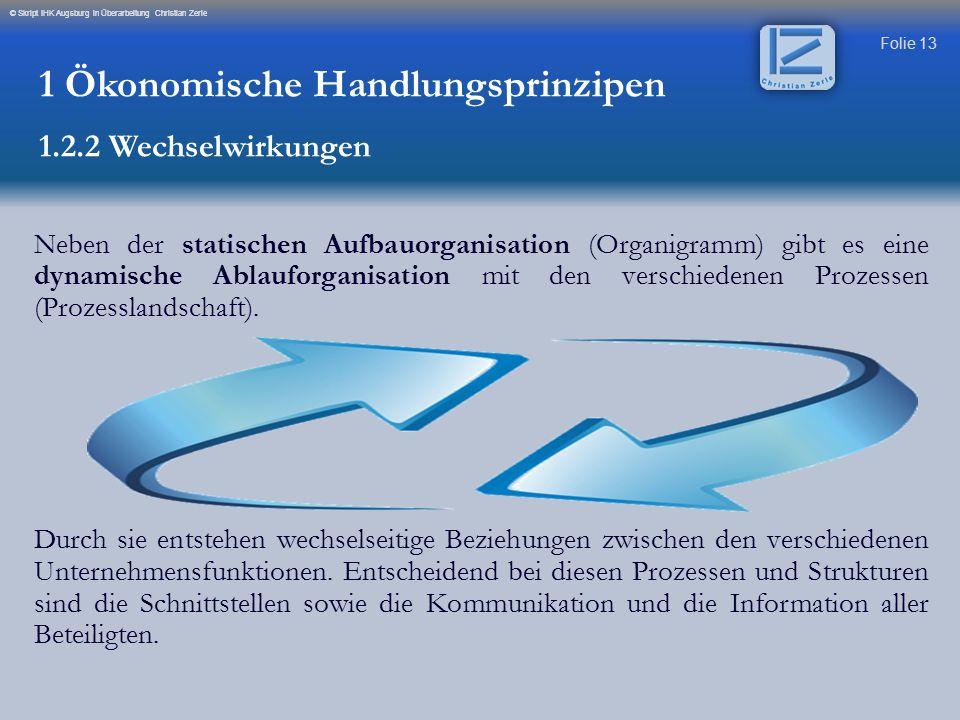 Folie 13 © Skript IHK Augsburg in Überarbeitung Christian Zerle Neben der statischen Aufbauorganisation (Organigramm) gibt es eine dynamische Ablaufor
