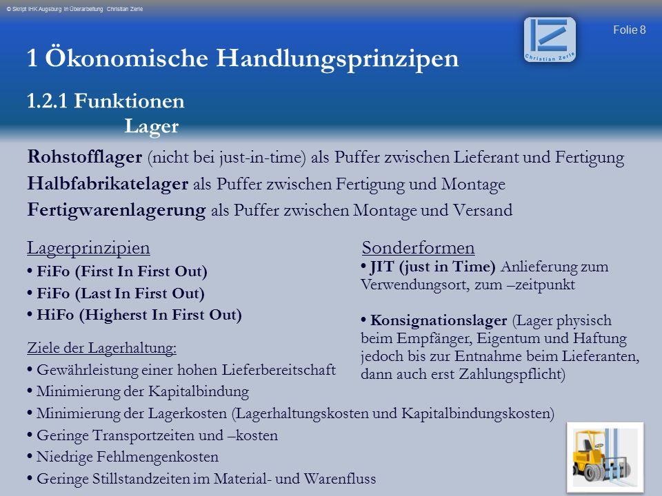 Folie 8 © Skript IHK Augsburg in Überarbeitung Christian Zerle Rohstofflager (nicht bei just-in-time) als Puffer zwischen Lieferant und Fertigung Halb