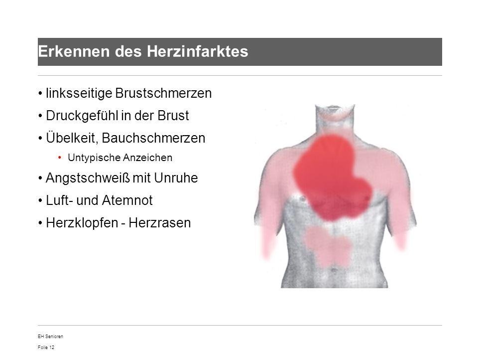 Folie 12 Erkennen des Herzinfarktes linksseitige Brustschmerzen Druckgefühl in der Brust Übelkeit, Bauchschmerzen Untypische Anzeichen Angstschweiß mi