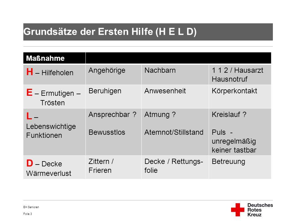 Folie 3 Grundsätze der Ersten Hilfe (H E L D) Maßnahme H – Hilfeholen AngehörigeNachbarn1 1 2 / Hausarzt Hausnotruf E – Ermutigen – Trösten BeruhigenA