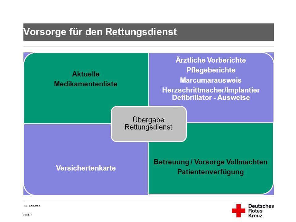 Folie 7 Vorsorge für den Rettungsdienst Aktuelle Medikamentenliste Ärztliche Vorberichte Pflegeberichte Marcumarausweis Herzschrittmacher/Implantier D