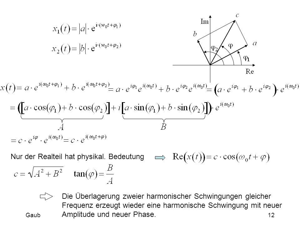 Die Überlagerung zweier harmonischer Schwingungen gleicher Frequenz erzeugt wieder eine harmonische Schwingung mit neuer Amplitude und neuer Phase. Nu