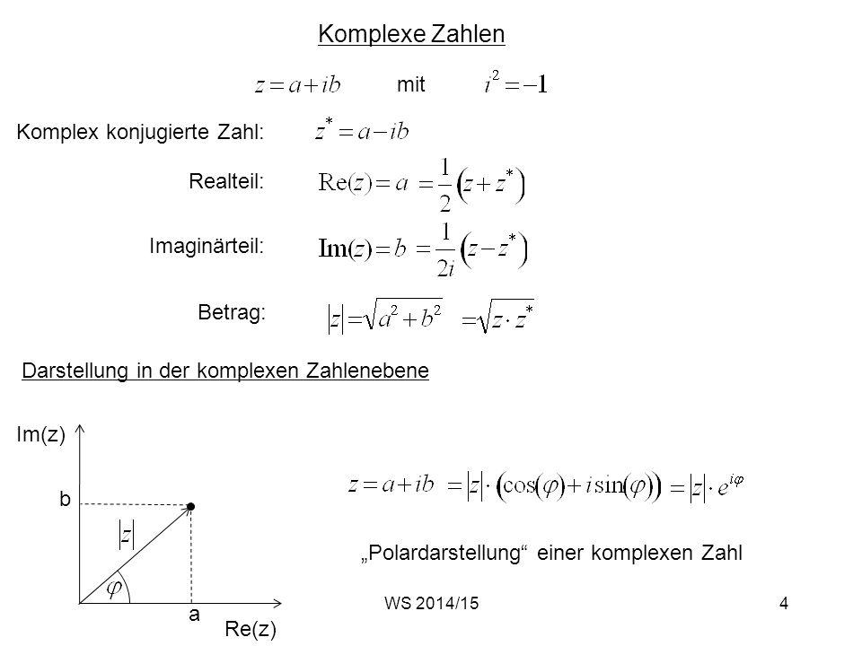 """Komplexe Zahlen mit Komplex konjugierte Zahl: Realteil:Imaginärteil: Betrag: Darstellung in der komplexen Zahlenebene Im(z) Re(z) a b """"Polardarstellun"""