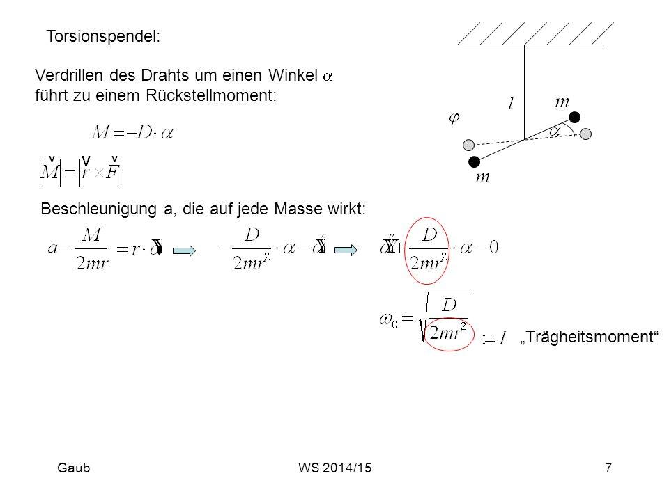 """Torsionspendel: Verdrillen des Drahts um einen Winkel  führt zu einem Rückstellmoment: Beschleunigung a, die auf jede Masse wirkt: """"Trägheitsmoment"""""""