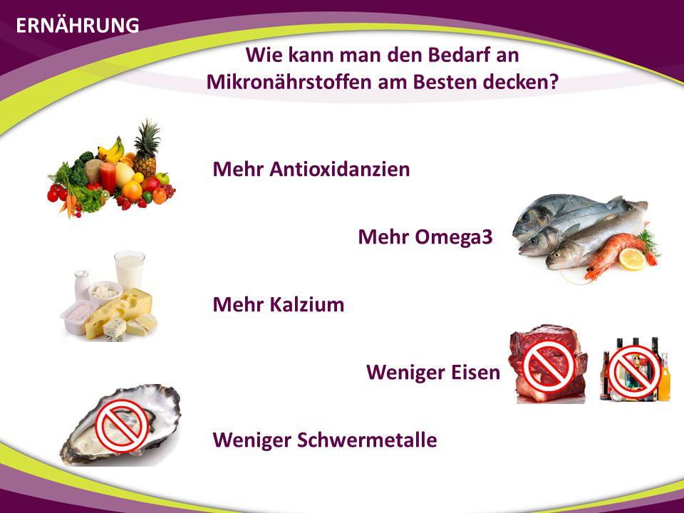 ERNÄHRUNG Wie kann man den Bedarf an Mikronährstoffen am Besten decken? Mehr Antioxidanzien Mehr Kalzium Mehr Omega3 Weniger Eisen Weniger Schwermetal