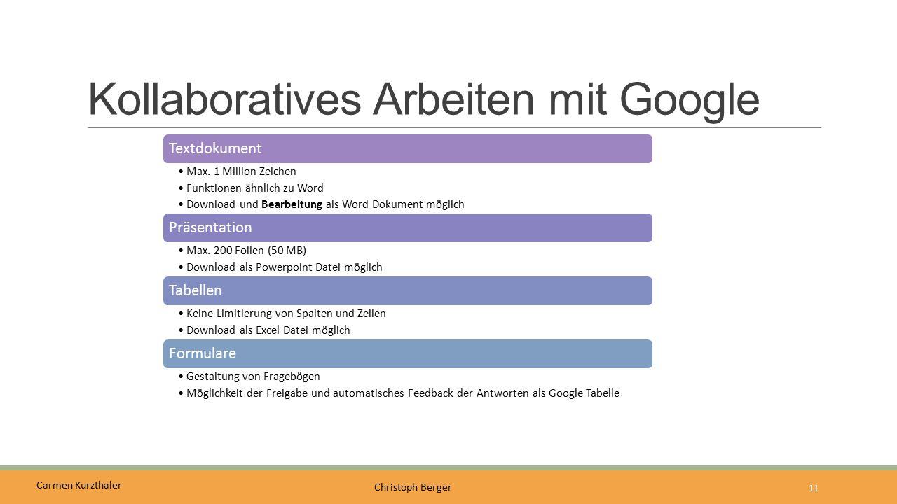 Carmen Kurzthaler Christoph Berger Kollaboratives Arbeiten mit Google 11 Textdokument Max. 1 Million Zeichen Funktionen ähnlich zu Word Download und B