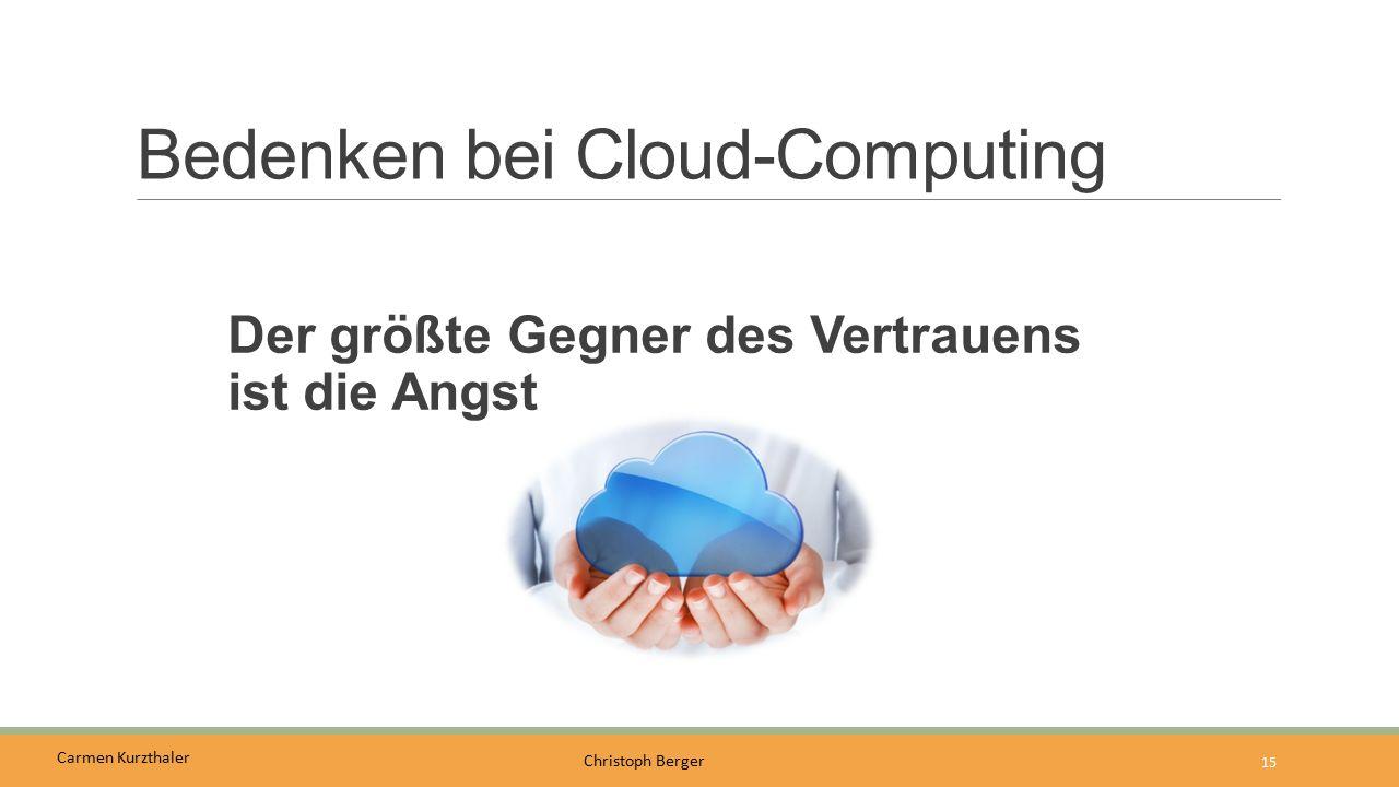 Carmen Kurzthaler Christoph Berger Bedenken bei Cloud-Computing Der größte Gegner des Vertrauens ist die Angst 15