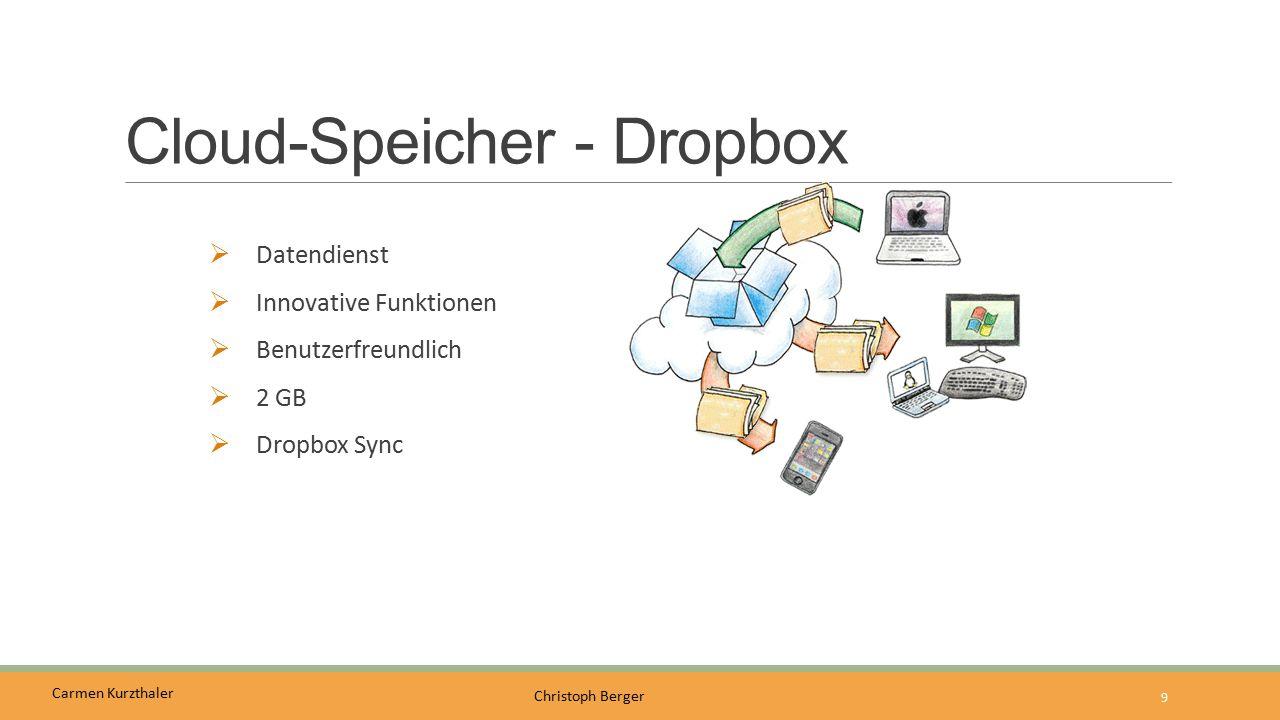 Carmen Kurzthaler Christoph Berger Cloud-Speicher - OneDrive  Windows-Live-Konto  Office 2013/Office 365  15 GB verfügbar (privat)  1 TB verfügbar (business)  OneDrive-Sync-Dienst  Nutzung Office-Online 10