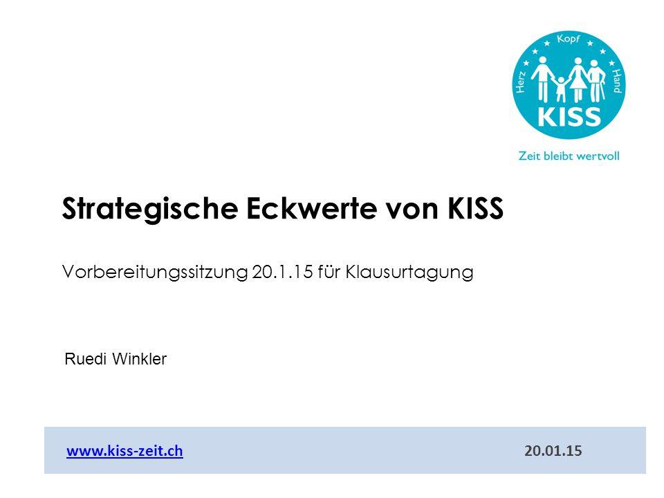 Ruedi Winkler www.kiss-zeit.ch 20.01.15www.kiss-zeit.ch Strategische Eckwerte von KISS Vorbereitungssitzung 20.1.15 für Klausurtagung