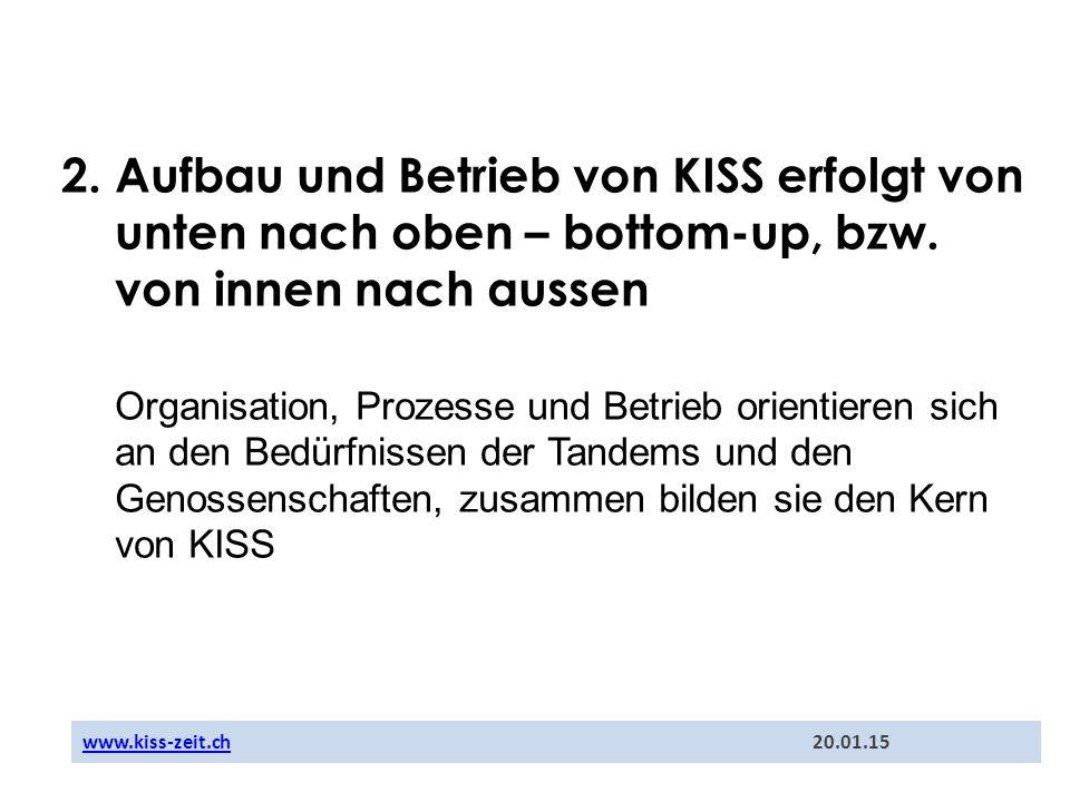 2. Aufbau und Betrieb von KISS erfolgt von unten nach oben – bottom-up, bzw. von innen nach aussen Organisation, Prozesse und Betrieb orientieren sich