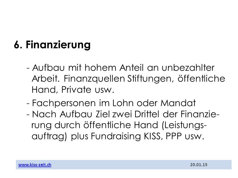 6. Finanzierung - Aufbau mit hohem Anteil an unbezahlter Arbeit. Finanzquellen Stiftungen, öffentliche Hand, Private usw. - Fachpersonen im Lohn oder