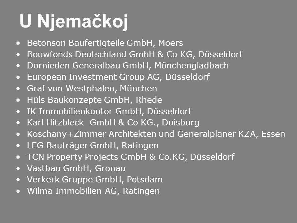 U Njemačkoj Betonson Baufertigteile GmbH, Moers Bouwfonds Deutschland GmbH & Co KG, Düsseldorf Dornieden Generalbau GmbH, Mönchengladbach European Inv