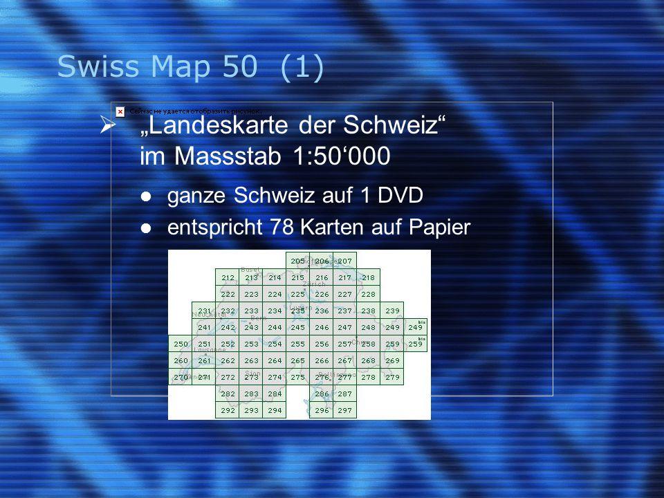 """Swiss Map 50 (1)  """"Landeskarte der Schweiz"""" im Massstab 1:50'000 ganze Schweiz auf 1 DVD entspricht 78 Karten auf Papier"""