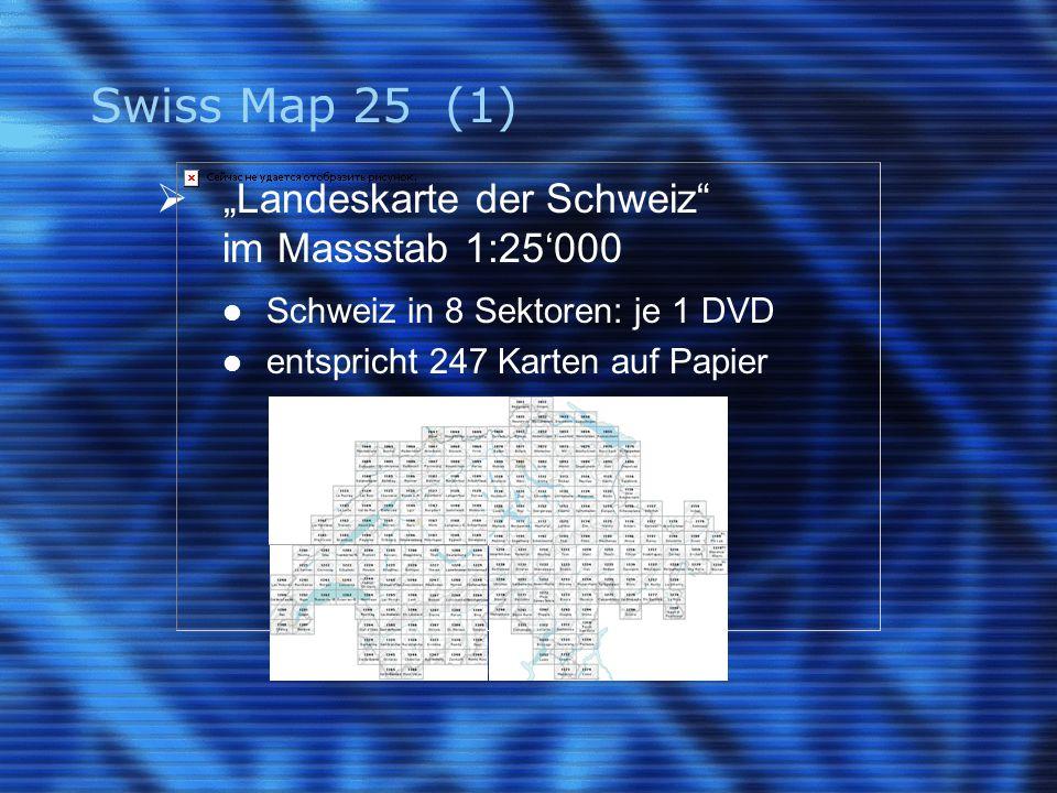 """Swiss Map 25 (1)  """"Landeskarte der Schweiz"""" im Massstab 1:25'000 Schweiz in 8 Sektoren: je 1 DVD entspricht 247 Karten auf Papier"""