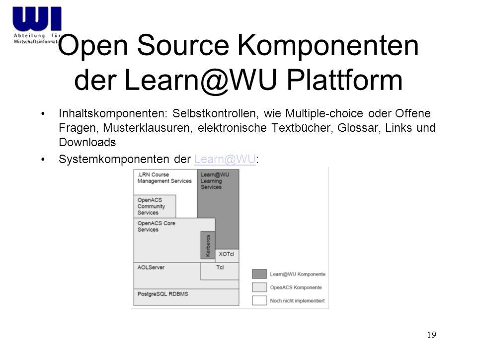 19 Open Source Komponenten der Learn@WU Plattform Inhaltskomponenten: Selbstkontrollen, wie Multiple-choice oder Offene Fragen, Musterklausuren, elektronische Textbücher, Glossar, Links und Downloads Systemkomponenten der Learn@WU:Learn@WU