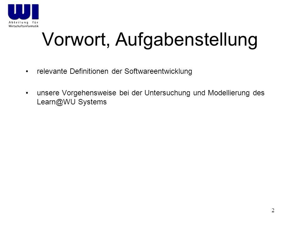 2 Vorwort, Aufgabenstellung relevante Definitionen der Softwareentwicklung unsere Vorgehensweise bei der Untersuchung und Modellierung des Learn@WU Sy