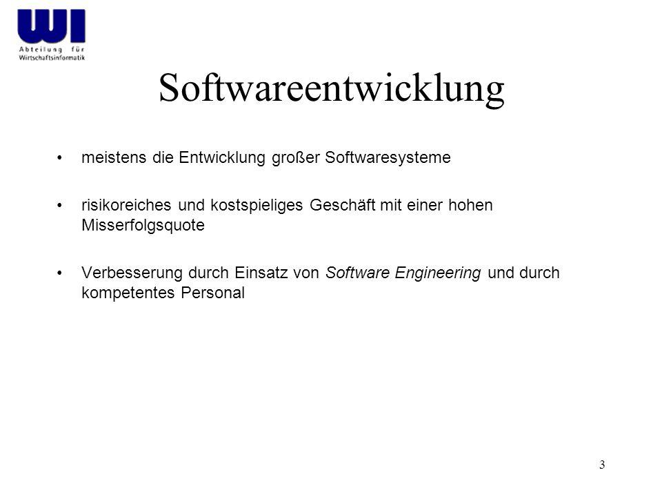 3 Softwareentwicklung meistens die Entwicklung großer Softwaresysteme risikoreiches und kostspieliges Geschäft mit einer hohen Misserfolgsquote Verbesserung durch Einsatz von Software Engineering und durch kompetentes Personal