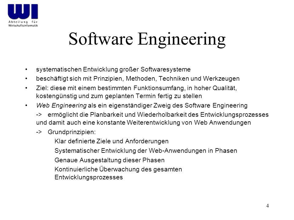 4 Software Engineering systematischen Entwicklung großer Softwaresysteme beschäftigt sich mit Prinzipien, Methoden, Techniken und Werkzeugen Ziel: die