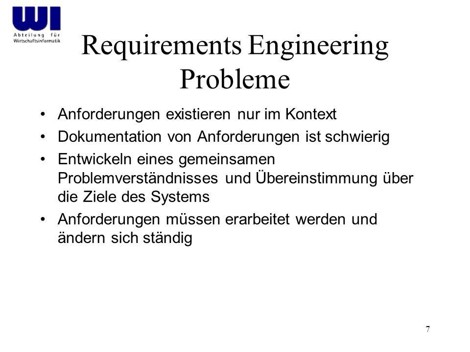 7 Requirements Engineering Probleme Anforderungen existieren nur im Kontext Dokumentation von Anforderungen ist schwierig Entwickeln eines gemeinsamen Problemverständnisses und Übereinstimmung über die Ziele des Systems Anforderungen müssen erarbeitet werden und ändern sich ständig