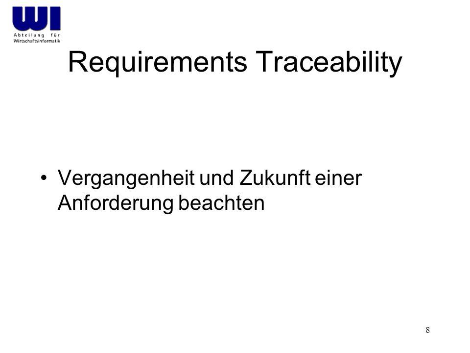 8 Requirements Traceability Vergangenheit und Zukunft einer Anforderung beachten