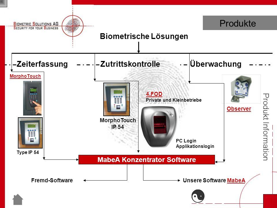 Produkt Information MabeA Konzentrator Software Biometrische Lösungen Überwachung Observer Unsere Software MabeAFremd-Software Zutrittskontrolle 4.FOD