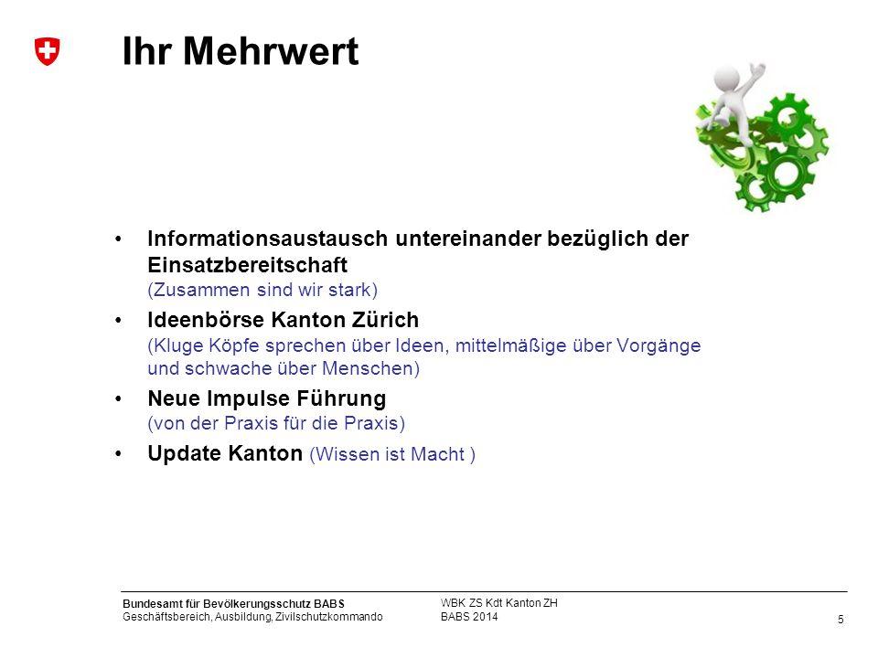 5 Bundesamt für Bevölkerungsschutz BABS Geschäftsbereich, Ausbildung, Zivilschutzkommando Ihr Mehrwert BABS 2014 WBK ZS Kdt Kanton ZH Informationsaust