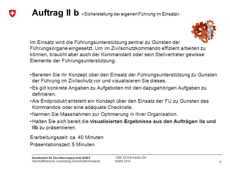 9 Bundesamt für Bevölkerungsschutz BABS Geschäftsbereich, Ausbildung, Zivilschutzkommando BABS 2014 WBK ZS Kdt Kanton ZH Auftrag II b «Sicherstellung