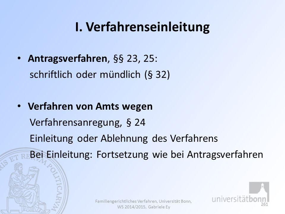 I. Verfahrenseinleitung Antragsverfahren, §§ 23, 25: schriftlich oder mündlich (§ 32) Verfahren von Amts wegen Verfahrensanregung, § 24 Einleitung ode