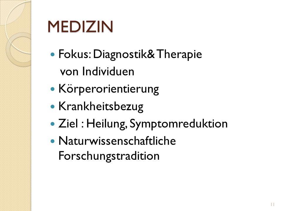 MEDIZIN Fokus: Diagnostik& Therapie von Individuen Körperorientierung Krankheitsbezug Ziel : Heilung, Symptomreduktion Naturwissenschaftliche Forschun