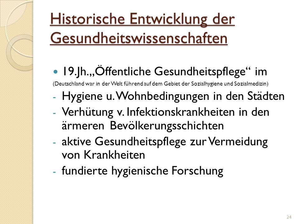 """Historische Entwicklung der Gesundheitswissenschaften 19.Jh.""""Öffentliche Gesundheitspflege"""" im (Deutschland war in der Welt führend auf dem Gebiet der"""