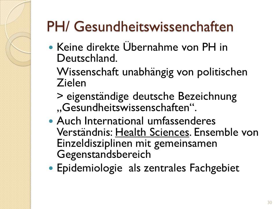 PH/ Gesundheitswissenchaften Keine direkte Übernahme von PH in Deutschland. Wissenschaft unabhängig von politischen Zielen > eigenständige deutsche Be