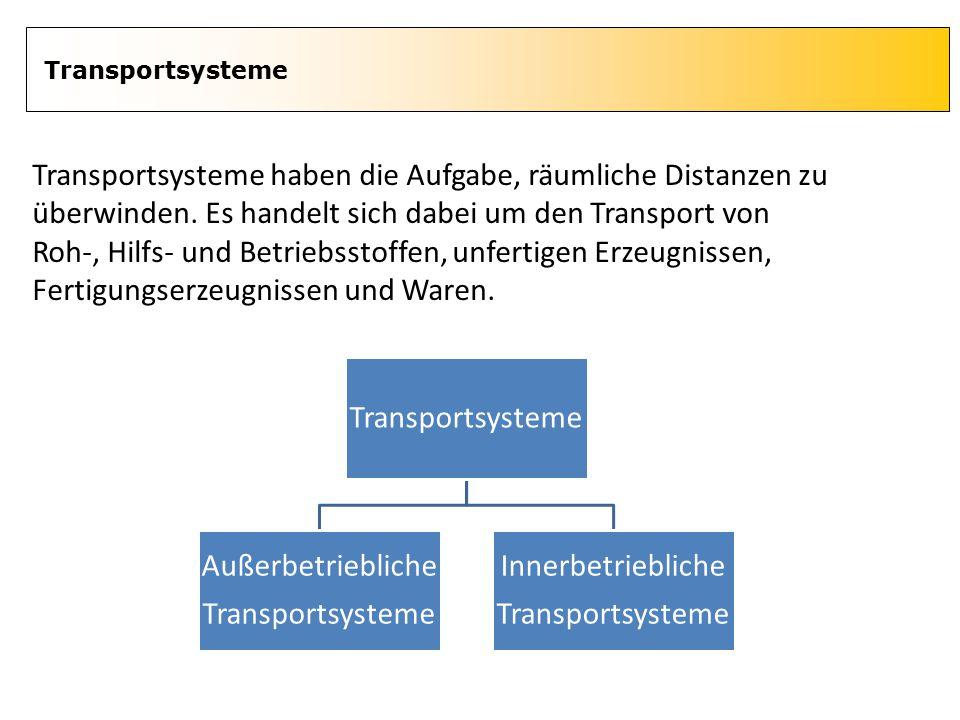 Transportsysteme Transportsysteme haben die Aufgabe, räumliche Distanzen zu überwinden. Es handelt sich dabei um den Transport von Roh-, Hilfs- und Be