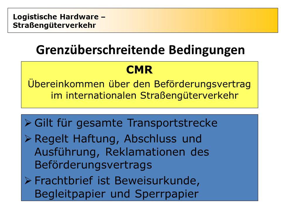Logistische Hardware – Straßengüterverkehr Grenzüberschreitende Bedingungen  Gilt für gesamte Transportstrecke  Regelt Haftung, Abschluss und Ausfüh