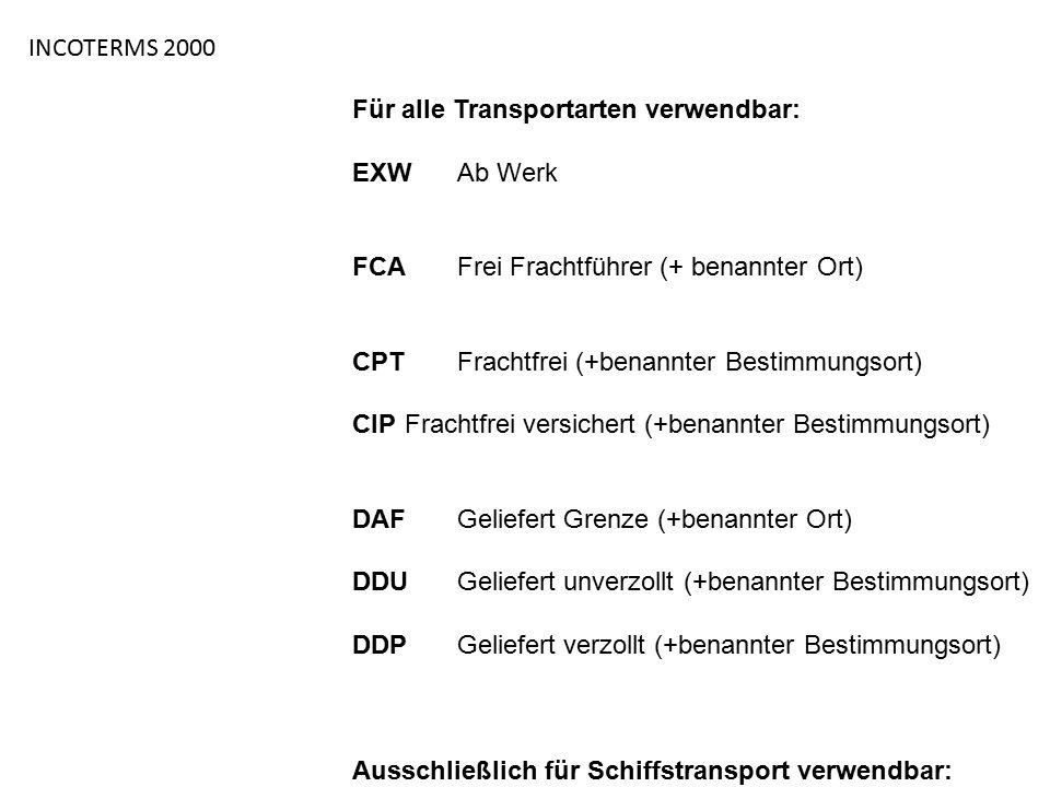 INCOTERMS 2000 Für alle Transportarten verwendbar: EXWAb Werk FCAFrei Frachtführer (+ benannter Ort) CPTFrachtfrei (+benannter Bestimmungsort) CIPFrac