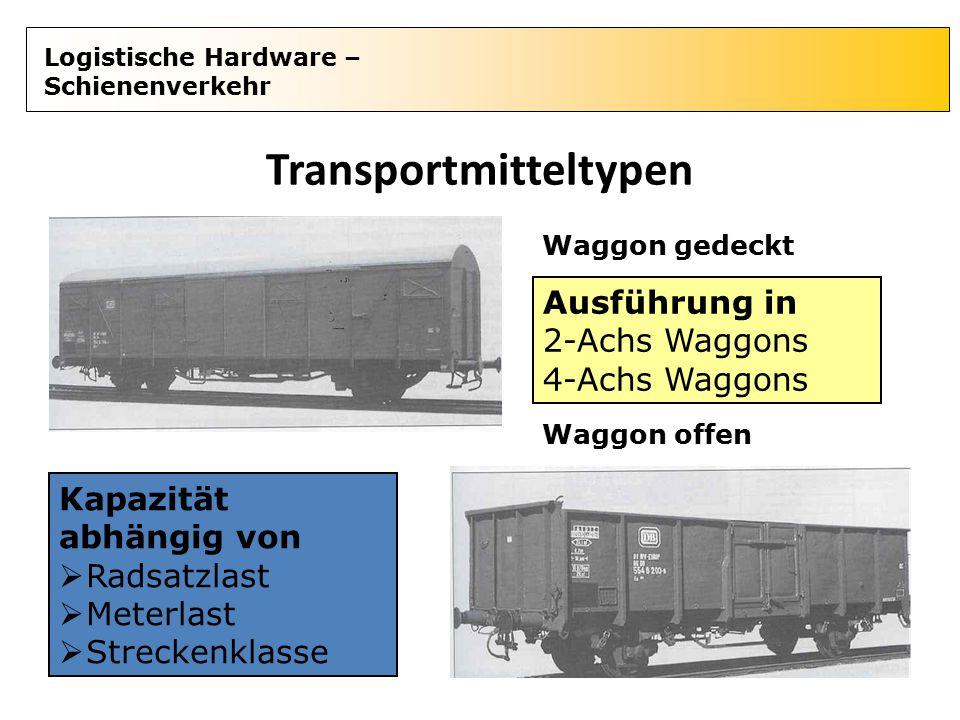 Logistische Hardware – Schienenverkehr Transportmitteltypen Waggon gedeckt Waggon offen Kapazität abhängig von  Radsatzlast  Meterlast  Streckenkla
