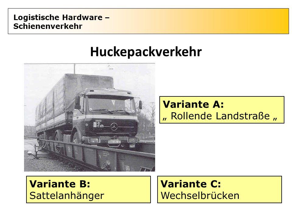 """Logistische Hardware – Schienenverkehr Huckepackverkehr Variante A: """" Rollende Landstraße """" Variante B: Sattelanhänger Variante C: Wechselbrücken"""