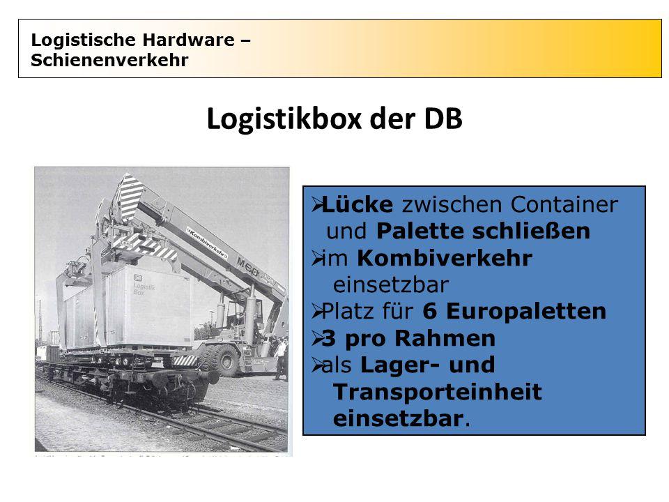 Logistische Hardware – Schienenverkehr Logistikbox der DB  Lücke zwischen Container und Palette schließen  im Kombiverkehr einsetzbar  Platz für 6