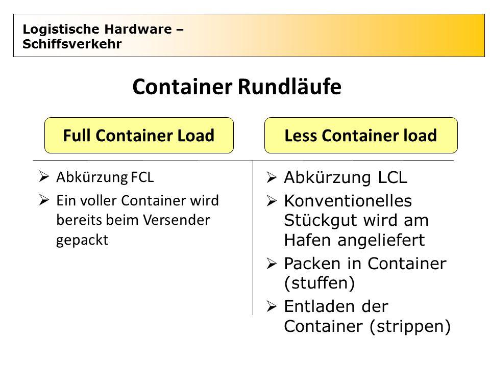 Logistische Hardware – Schiffsverkehr Container Rundläufe  Abkürzung FCL  Ein voller Container wird bereits beim Versender gepackt Full Container Lo
