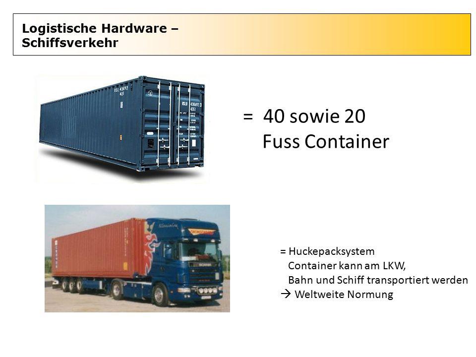 Logistische Hardware – Schiffsverkehr = 40 sowie 20 Fuss Container = Huckepacksystem Container kann am LKW, Bahn und Schiff transportiert werden  Wel